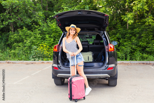 young woman and suitcase vacation concept car trip summer travel girl traveling with. Black Bedroom Furniture Sets. Home Design Ideas