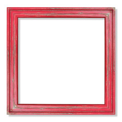 old red picture frame isolated on white