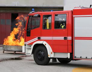 fire trucks in fire brigade station