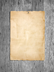 Old grunge paper on gray wood or wooden wall background
