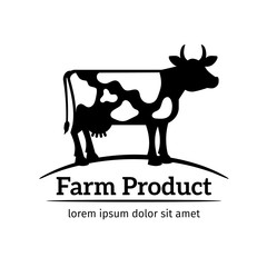 Cow logo. Emblem of cow in a meadow vector