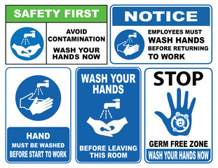 wash your hands sign (Avoid contamination, employee must wash hands returning to work, before leaving this room, now wash your hands)