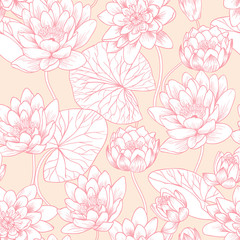 Flowers of water lilies. Vector seamless pattern