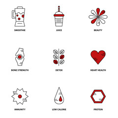 Smoothie therapy vector icon set