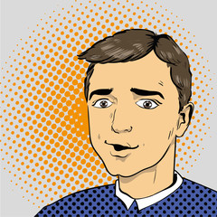Man in comics retro pop art style. Vector illustration