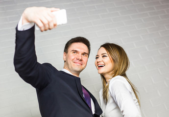 Selfie business team taking pictures in the office