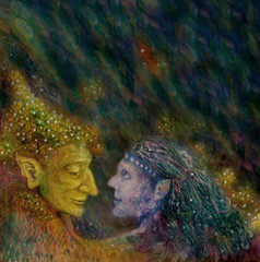 fairies couple talking to each other, colorful illustration