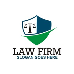 Logo law firm building and justice icon vector
