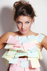 woman and notes paper