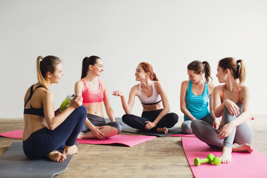 Yoga and fitness after workout.