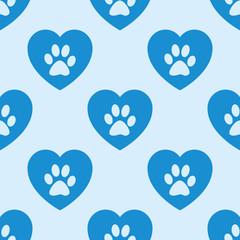Icono plano patrón con corazón huella mascota fondo azul