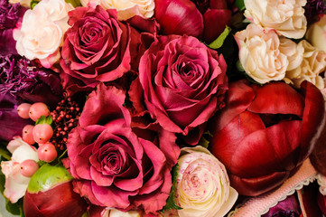 Pink and red flowers background.