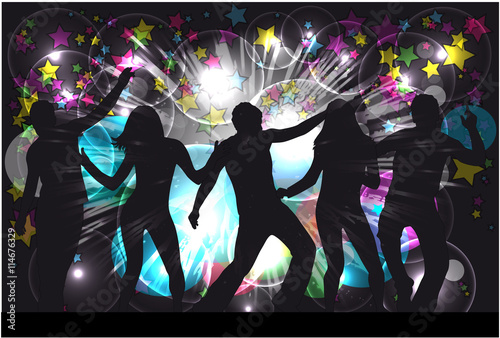 "Silhouette Dance Music Abstract Background: ""Dancing People Silhouettes. Abstract Background."" Imagens"