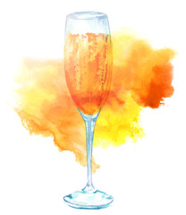 Watercolor drawing of flute glass of sparkling wine texture
