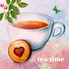 'Tea Time': vintage collage with watercolor drawings and texture
