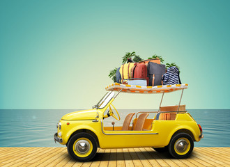 Tourism and travel, a small yellow car with Luggage