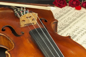 Old violin on wooden table. Detail of old violin. Invitation to the Violin Concerto. I love classical music. Sale of antique violins.