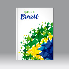 Welcome to Brazil cover. Abstract composition, colored star figure icon, text welcome to Brazil on a background watercolor stars colors of the Brazilian flag, a4 brochure title sheet