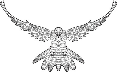 Bird dove flying, eagle doodle, hand drawing, doodles style. Dove in zentangle style. Vector illustration.
