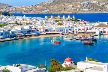 Fototapete - A view of Mykonos port with boats, Cyclades islands, Greece