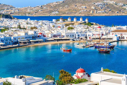 A view of Mykonos port with boats, Cyclades islands, Greece