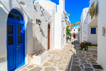 A view of typical narrow street in old town of Parikia, Paros island, Cyclades, Greece