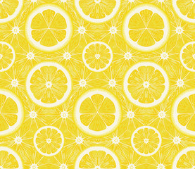 Seamless pattern from lemons. Vector background.