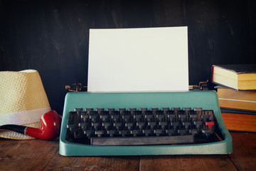 vintage typewriter with blank page