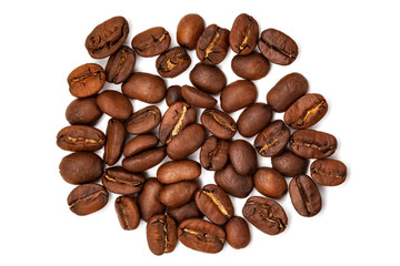 Scattered big coffee grains isolated