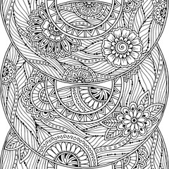 Doodle seamless background in vector with doodles, flowers and paisley. Black and white.