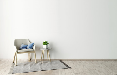 3d illustration of empty white interior