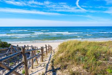 Wall Mural - Entrance to beautiful sandy beach in Bialogora coastal village, Baltic Sea, Poland