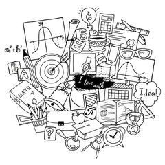 Mathematics science theme. Hand drawn pattern about school and learning in doodle style.