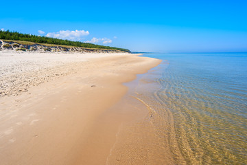 Sandy beach in Lubiatowo coastal village, Baltic Sea, Poland