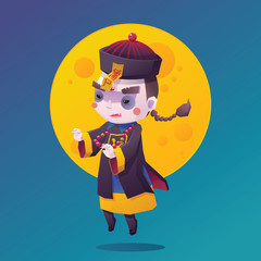 Vector Illustration of Chinese Hopping Vampire Ghost for Halloween with Full Moon Background, Cute Character