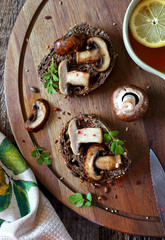 Bread topped with mushroom and parsley