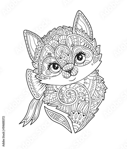 Kitten With Bow Portrait In Zentangle Style In Vector Hand Drawn