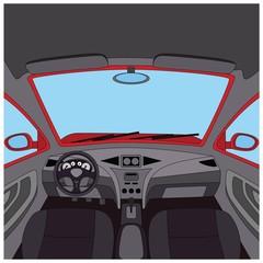Car interior. Auto dashboard view.