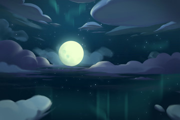 Video Game Digital CG Artwork Concept Art Illustration Set 5: The Moon Night above the Ocean. Realistic Fantastic Cartoon Style Character, Background, Wallpaper, Story, Card Design