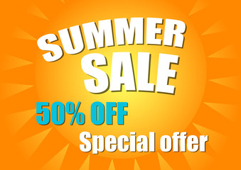 Summer sale poster. Sale background. Vector