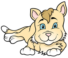 Kitten Laying - Colored Cartoon Illustration, Vector