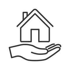 Hand holds house. Elegant line icon