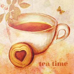 'Tea Time' vintage style collage with watercolor drawings