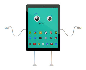 Shocked, surprised, speechless Tablet cartoon character. 3D illu