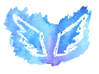 Beautiful watercolor blue wings on white background