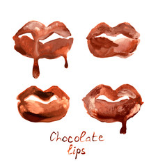 Set with four watercolor hand drawn beautiful chocolate lips