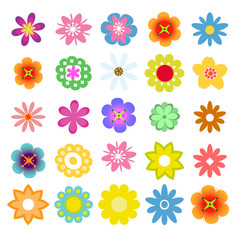 Set of flat flower icons in silhouette isolated. Cute retro design in bright colors flowers.