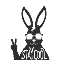 rabbit in sunglasses showing a peace sign. Stay cool