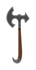 Axe steel weapon isolated and sharp axe flat weapon weapon icon isolated on white and knight axe cartoon flat icon of handle war work equipment vector illustration.