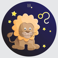 leo zodiac in cartoon for education, sign and symbol use.